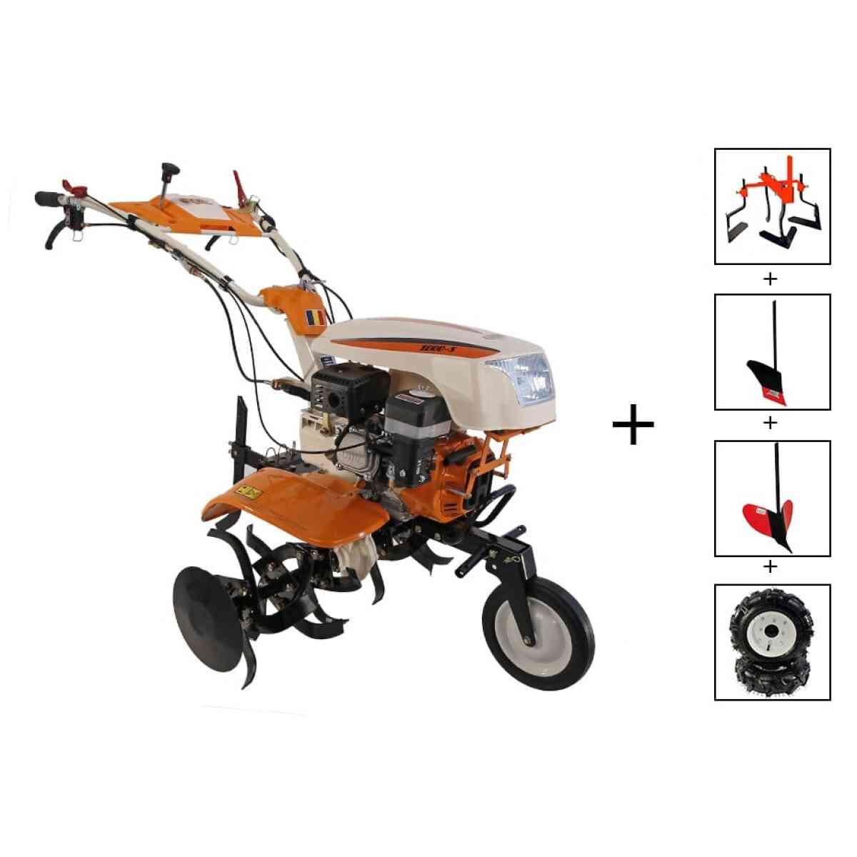 motocultor o mac new 1000 s 8cp cu roti cauciuc plug rarita prasitoare 81