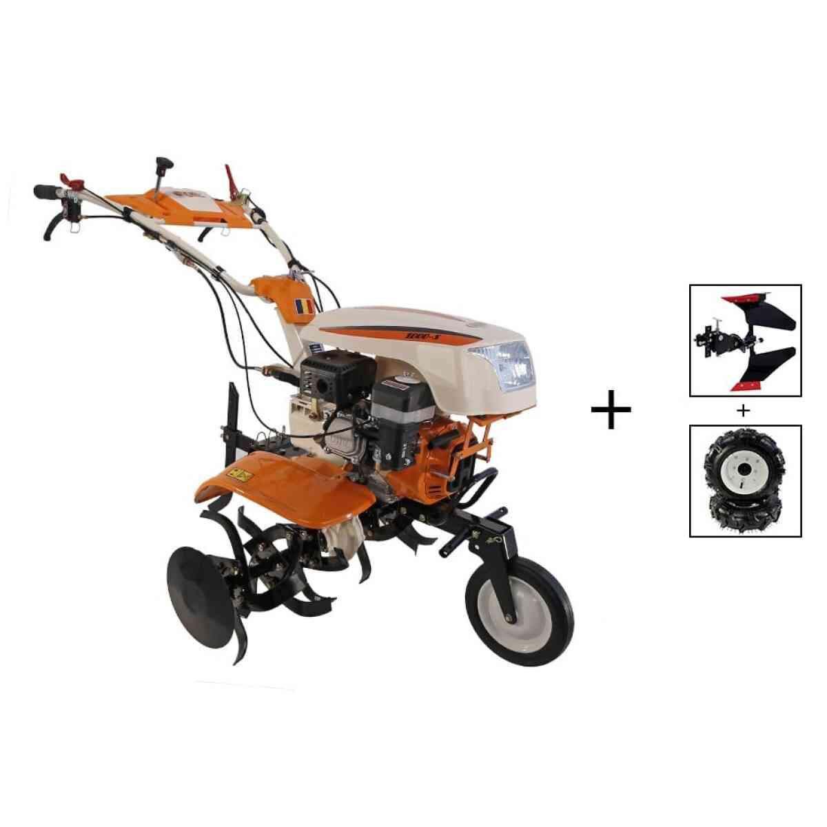 motocultor o mac new 1000 s 8cp cu roti cauciuc plug reversibil 99